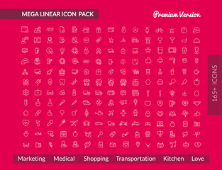 Linear Mega Outline pack icon set 2