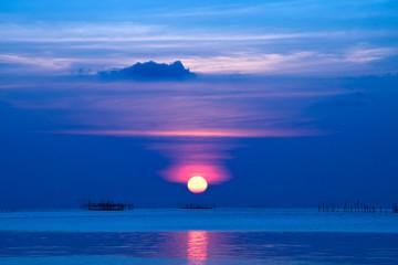 Sunset sky at Songkhla Lake, Thailand.
