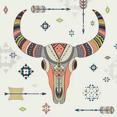 Vector illustration of a buffalo skull.