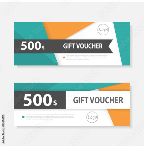Orange Green Gift Voucher Template With Colorful Pattern,cute Gift Voucher  Certificate Coupon Design Template  Business Coupon Template