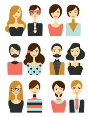 Avatar people head. Various cartoon modern faces. Flat design vector illustration.