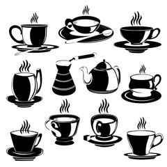 set of tea and coffee cup silhouette isolated on white