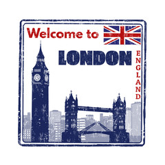 Welcome to London grunge rubber stamp on white background, vector illustration