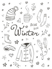 Collection of hand drawn winter related graphic elements