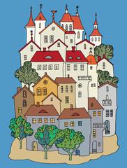Cartoon color castle, hand drawing
