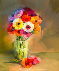 Abstract oil painting of spring flowers. Still life of yellow and red gerbera flower.t Colorful Bouquet flowers in glass vase. Hand Painted floral modern Impressionist style