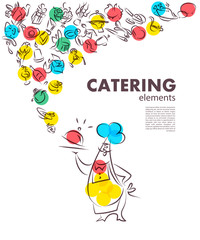 Hand drawn artistic catering illustration, restaurant menu cover template.