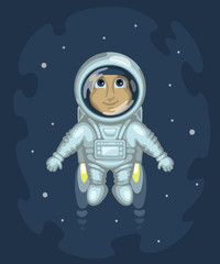 Astronaut is flying in outer space