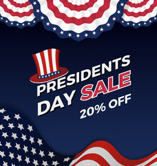 Presidents day sign on a dark blue background with text Happy Presidents Day. Vector illustration