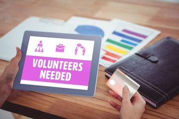 Composite image of yellow volunteers needed
