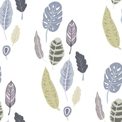Trendy vector seamless pattern with forest plants, leaves