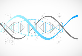 Science template, blue wallpaper or banner with a DNA molecules.