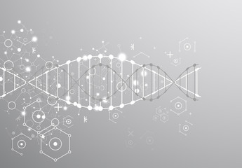 Science template, grey wallpaper or banner with a DNA molecules.