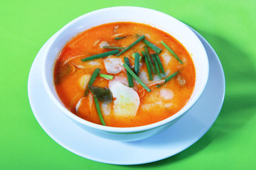 Tom Yum soup, a Thai traditional hot and spicy sour prawn soup