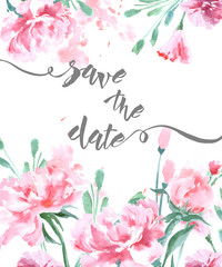 Save The Date with a watercolor peonies. Wedding Invitation Card (Use for Boarding Pass, invitations, thank you card.) Template Vector.