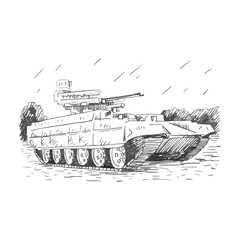 Fire support combat vehicle tanks. Russian BMPT. Vector freehand pencil sketch.