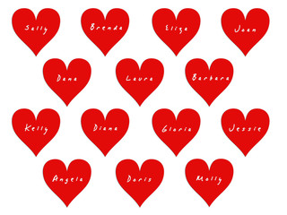 14 hearts with names of women on Valentine's Day. White background