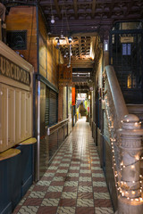 The Bar Pasajes in an extraordinary passage with beer bars and pubs in the La Ribera district of Barcelona. The corridor leads to the Eixample district