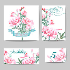 Wedding invitation card set with a watercolor peonies. (Use for Boarding Pass, invitations, thank you card.) Vector illustration.