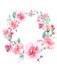 Floral Frame. A wreath of watercolor roses. Perfect for wedding invitations and birthday cards. Template Vector.