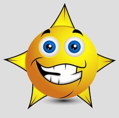 Cheerful Star Smiley Vector