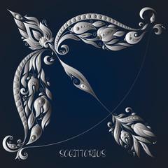 Sagittarius . Astrology Zodiac sign. Hand drawn style.