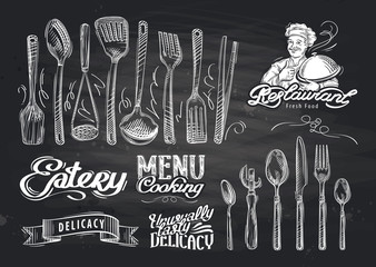 vector hand drawn restaurant sketch and cafe doodle