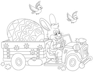 Easter Bunny Driving A Truck With Big Decorated Egg