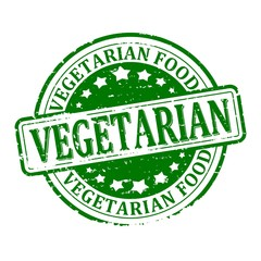 Damage to the green round stamped - vegetarian food - vector eps