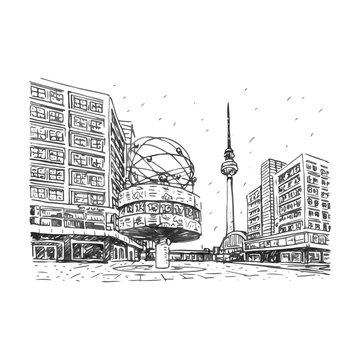 TV tower and world clock at Alexanderplatz train station, Berlin, Germany. Vector hand drawn sketch.