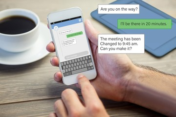 Composite image of smartphone text messaging