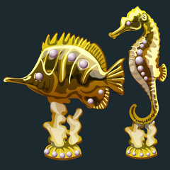 Golden fish and seahorse with pearls