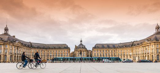 Place de la bourse à Bordeaux, France
