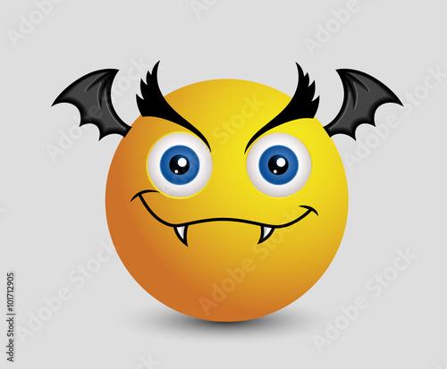 Evil Halloween Bat Vampire Emoji Smiley Emoticon