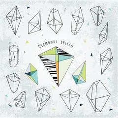 Line shapes cristal geometry. Diamonds design.  Alchemy, religio