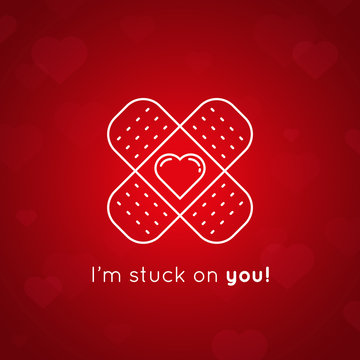 I'm stuck on you message - concept Valentines Day card. White line drawing of plaster with heart on red background. Vector illustration.
