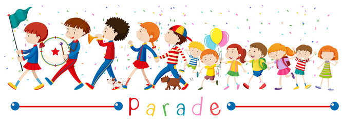 Children and the band in the parade