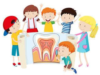 Children with tooth diagram