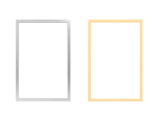 silver and gold frames on white background