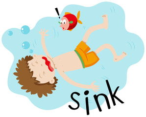 Little boy underwater sinking