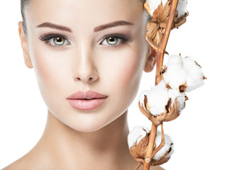 Beautiful face of young woman healthy skin