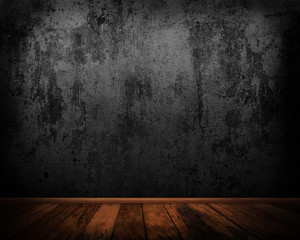 Old concrete wall and wooden floor background.