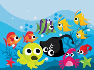 Colorful Cartoon Sea Creatures