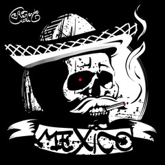 the skull in a sombrero, print T-shirt
