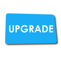 Icono plano UPGRADE en rectangulo azul con sombra