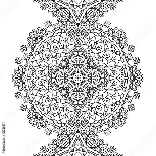 Seamless Contour Floral Pattern Vector Hand Drawn Monochrome Texture Decorative Flowers