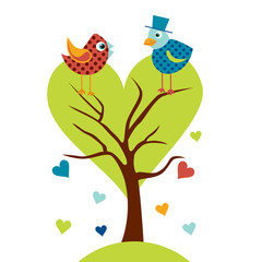 Cute birds in love tree llustration. Stylized happy cartoon animal. Flat vector illustration. Child Color design.