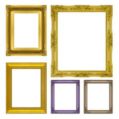 set antique gold frame isolated on  white background