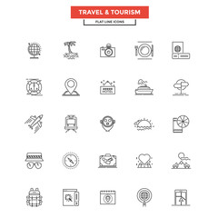 Flat Line Icons- Travel and Tourism