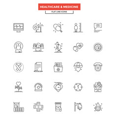 Flat Line Color Icons- Healthcare and Medicine
